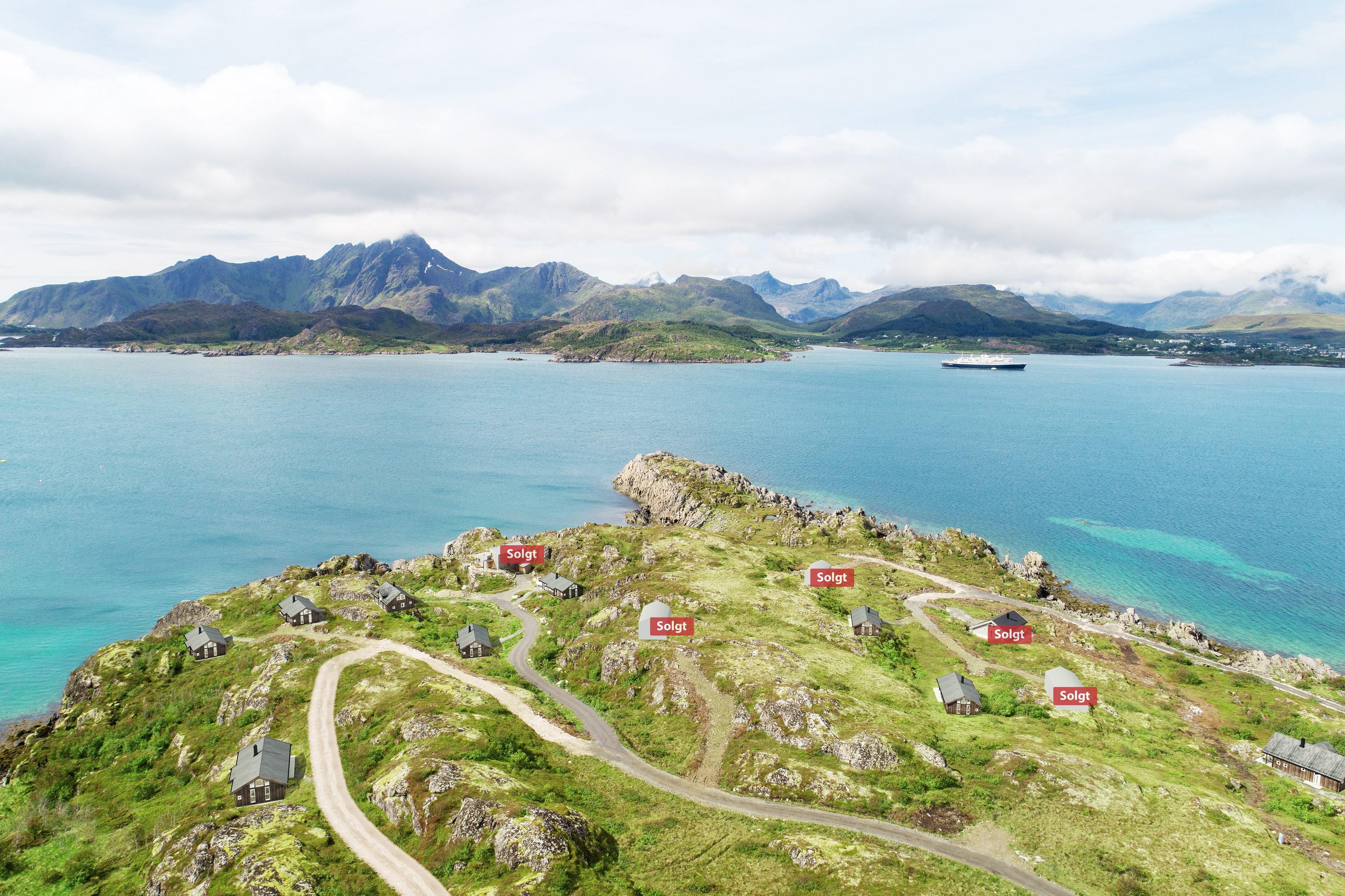 Oksneset hyttefelt med utsikt over Vestfjorden